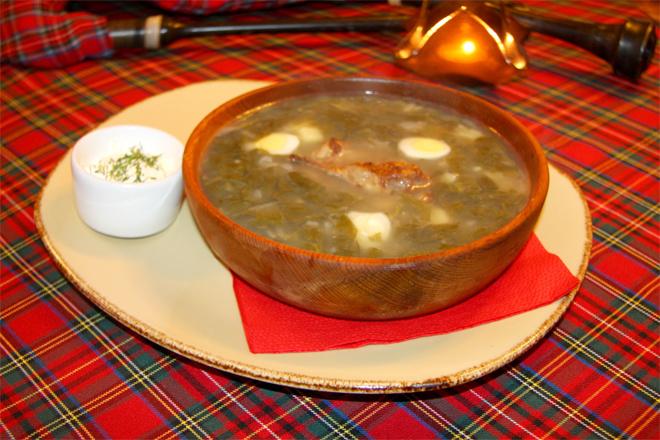 Суп щавелевый с перепелкой