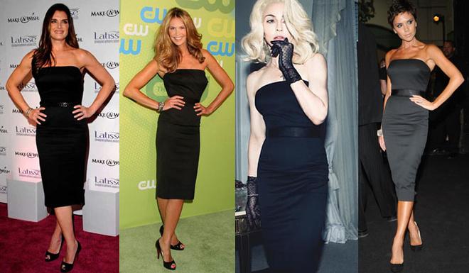 Слева направо: Брук Шилдс, Эль МакФерсон, Мадонна и Виктория Бэкхем (все – в черном платье из коллекции DVB)