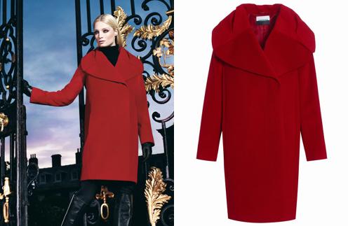 Красное пальто Jaeger. Цена со скидкой - около 16600 рублей (начальная цена 33200 рублей)