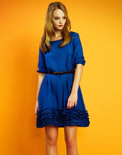 Синее платье с оборками, Султана Французова, осень-зима 2011 - 2012