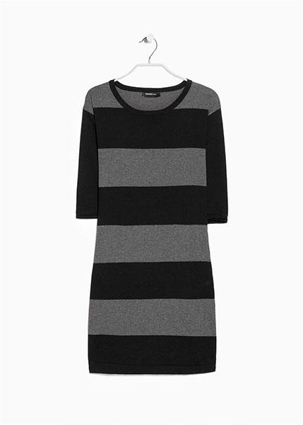 Полосатое платье черно-серого цвета