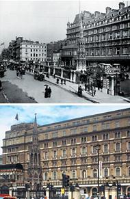 Сегодня, как и 120 лет назад ( вверху), Стрэнд — это район театров, ресторанов, роскошных магазинов. Викторианский отель «Чаринг-кросс» — лишь одно из многочисленных зданий на Стрэнде, связанных с Холмсом