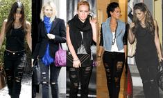 Звездный тренд: черные рваные джинсы