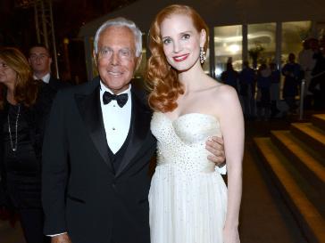 Джорджио Армани и Джесика Честейн на благотворительной вечеринке в Каннах
