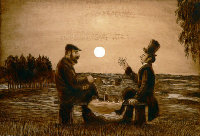 Картина Игоря Шаймарданова «Довлатов и Пушкин»