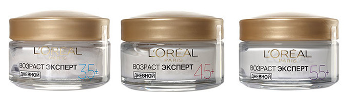 «Возраст Эксперт» – это три линии ухода за кожей после 35, 45 и 55 лет. «Я бы, конечно, взяла 55+, чтобы точно сработал, – рассуждает Ингеборга Дапкунайте. – Но, думаю, в L'Oréal Paris придумали для каждого возраста именно то, что действительно нужно».