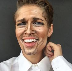 Визажист с помощью макияжа становится копией знаменитостей