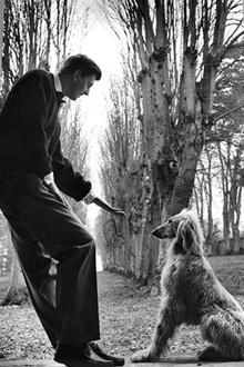 Юбер де Живанши со своей собакой, 1955 год