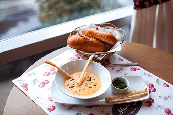 Суп-пюре из тыквы с грибами