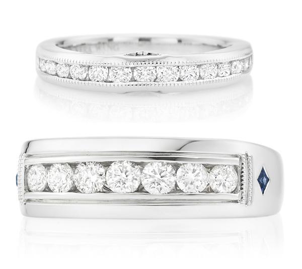 Женское обручальное кольцо с бриллиантами, $1999; мужское обручальное кольцо с бриллиантами, $3999