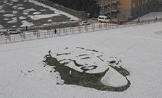 Портрет Мэрилин Монро нарисовали на снегу
