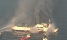 Пожар на пароме LISCO Gloria до сих пор не потушен