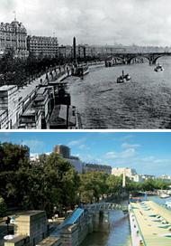 Набережная Темзы в районе Вестминстера — в 1890 году (вверху) и сегодня. Река по-прежнему закована в гранит, и гордо возносится ввысь обелиск «Игла Клеопатры», неподалеку от которого находится Новый Скотленд-Ярд, построенный как раз в 1890 году