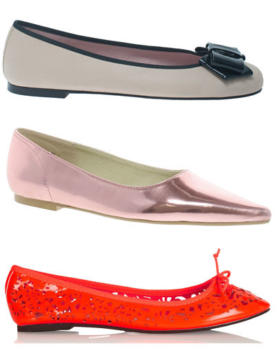 Сверху вниз: балетки Pretty Ballerinas; балетки Cheap Monday; балетки Topshop