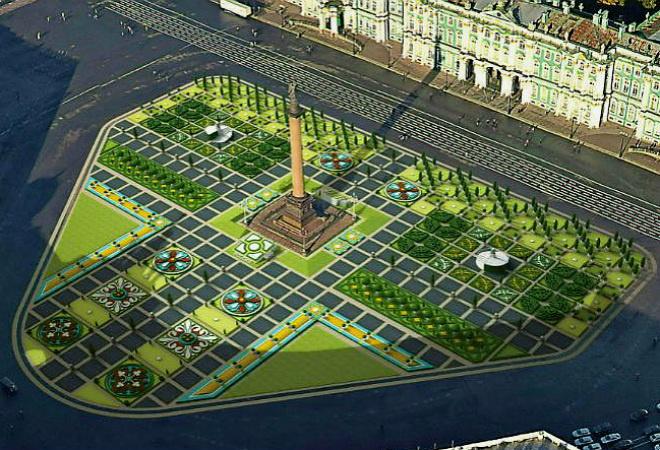 На Дворцовой появится пышный газон с цветами и деревьями