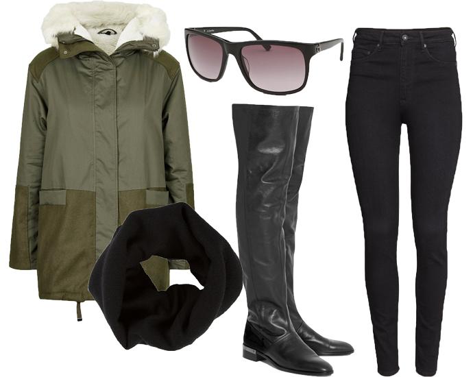 Парка TopShop, джеггинсы H&M, сапоги Reed Krakoff, снуд Dolce&Gabbana, солнцезащитные очки Calvin Klein