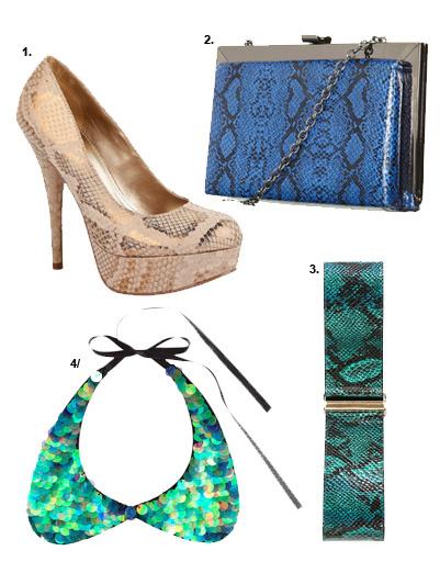 1. Туфли Payles; 2. клатч Topshop; 3. пояс Bebe; 4. воротничок H&M