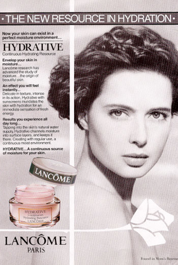 Рекламная кампания крема Lancome. 1991 год. Лицо марки – актриса Изабелла Росселини.