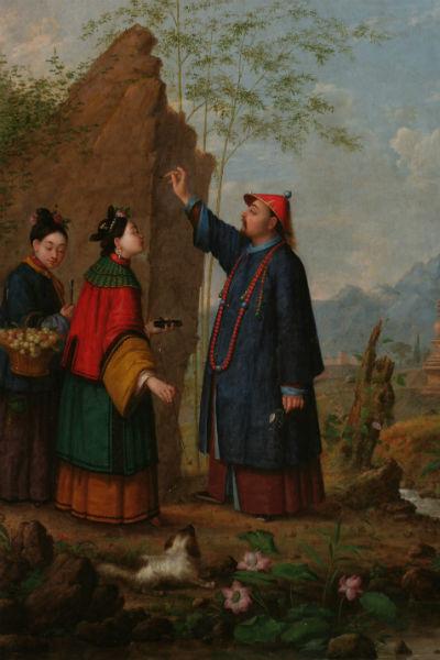 Антон Легашов (Легашев), «Китаец и китаянка на фоне скал» (1862 г.)