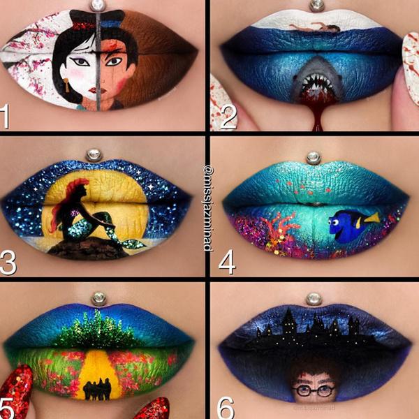 необычный макияж губ, картины на губах