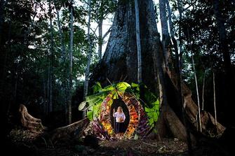 Мария Селия Грефа Агинда, у подножия одного из последних больших деревьев, бассейн Амазонки, Эквадор