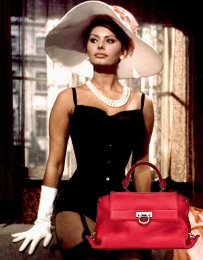 Софи Лорен (Sophia Loren), сумка Salvatore Ferragamo