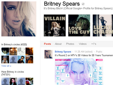 Личная страница Бритни Спирс в Google+