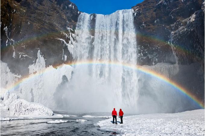 Пара, водопад, радуга