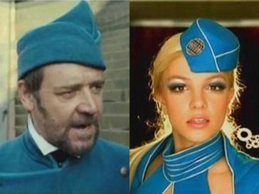 Рассел Кроу и Бритни Спирс в похожих костюмах