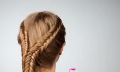 Коса рыбий хвост: обратное плетение