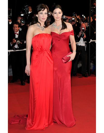 Софи Марсо в платье YSL и Моника Беллуччи в Christian Dior на Каннском кинофестивале-2009