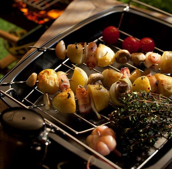 Шашлык с картошкой и грибами