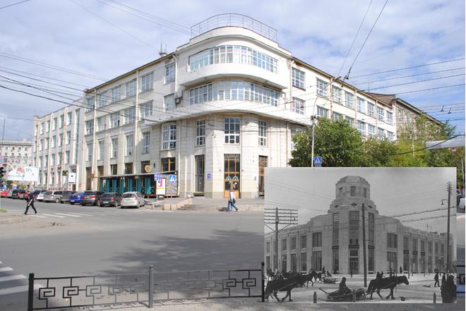 Когда-то – Дом текстильного синдиката, а теперь административное здание на ул. Советская, 18.