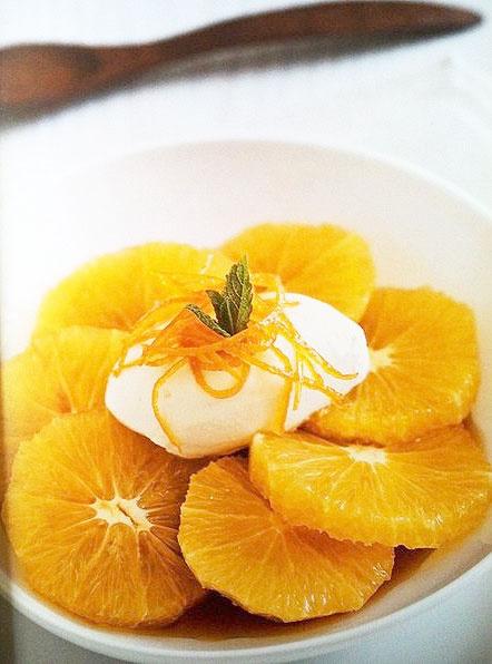 Апельсины в карамели с хересным кремом