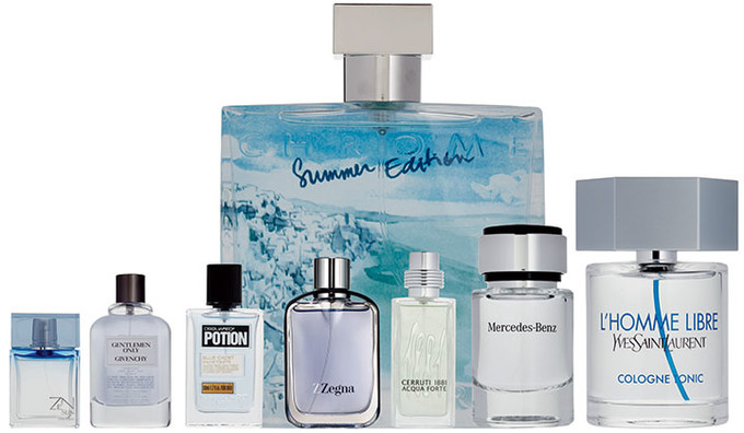 Chrome Summer Edition, Azzaro; ZenSun for Men, Shiseido; Gentlemen Only, Givenchy Potion Blue Cadet, Dsquared²; Z Zegna, Ermenegildo Zegna; 1881 Acqua Forte, Cerruti Mercedes-Benz; L'Homme Libre Cologne Tonic, Yves Saint Laurent