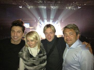 Дима Билан, Яна Рудковская и Евгений Плющенко на концерте Дженнифер Лопес