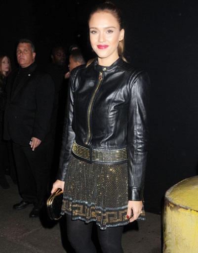 Джессика Альба (Jessica Alba) на презентации коллекции Versace для H&M в Нью-Йорке