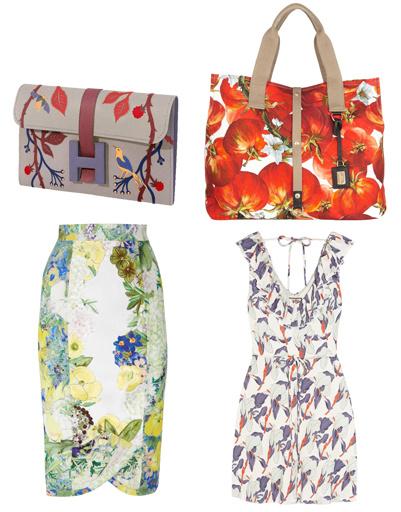 Клатч Hermes, сумка Dolce & Gabbana, платье Juicy Couture, юбка Erdem