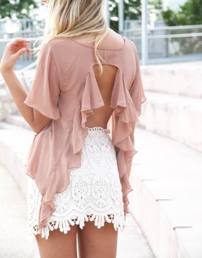 Белая кружевная мини-юбка