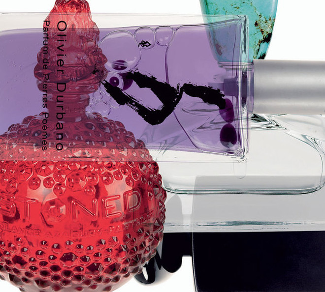 Слева направо снизу вверх: Stoned, Solange Azagury-Partridge; Amethyst, коллекция Parfum de Pierres PoПmes, Olivier Durbano; Pure Turquoise, Ralph Lauren; Bois D'Encens, коллекция Armani PrivО, Giorgio Armani.