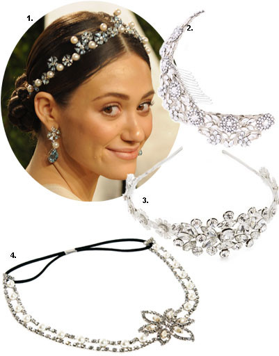 1. Эмми Россум (Emmy Rossum); 2. диадема Enchanted Atelier; 3. диадема Dauphines of New York; 4. диадема Asos
