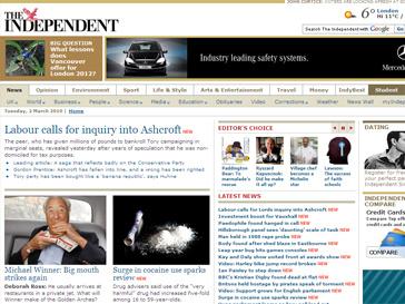 Web-страница газеты The Independent