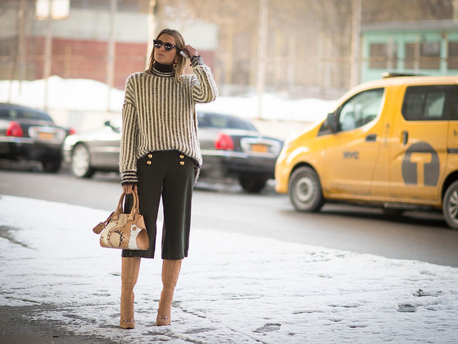 С чем носить юбку-брюки: фото