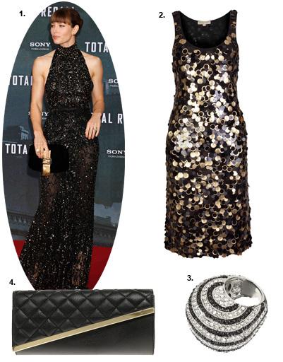1. Джессика Бил (Jessica Biel); 2. платье Michael Michael Kors; 3. кольцо River Island; 4. клатч Asos