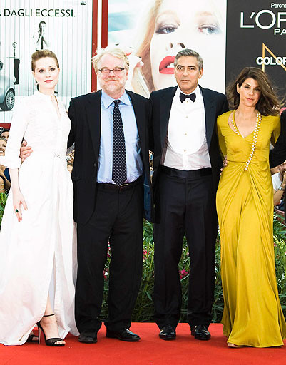 Джордж Клуни (George Clooney), Эван Рэйчел Вуд (Evan Rachel Wood), Филип Сэймур Хоффман (Philip Seymour Hoffman) и Мариса Томей (Marisa Tomei)