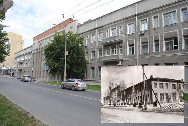 Областная библиотека остается ею и сейчас. Новосибирская государственная областная научная библиотека, ул. Советская, 6.