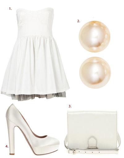 1. Платье Topshop; 2. серьги H&M; 3. сумка Asos; 4. туфли Valentino