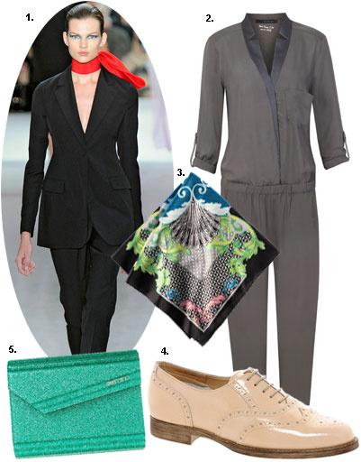 1. Christian Dior весна-лето 2013; 2. комбинезон Calvin Klein Jeans; 3. платок H&M; 4. туфли Asos; 5. клатч Jimmy Choo