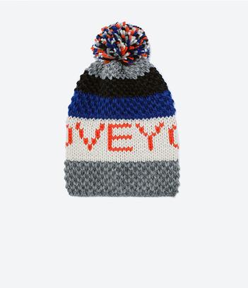 шапка с принтом и помпоном