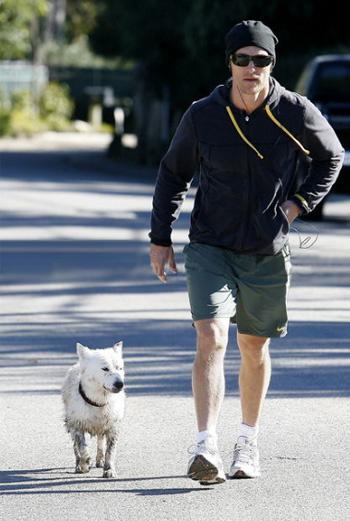 МакКонахи возвращается домой с чумазой собакой